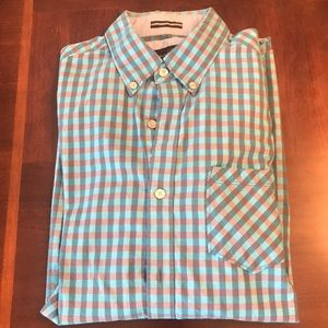 Checkered blue and gray button down